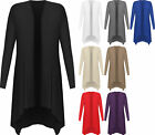 New Plus Size Womens Hanky Hem Long Sleeve Open Ladies Waterfall Cardigan 14-28