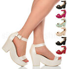 WOMENS LADIES PLATFORM HIGH BLOCK HEEL SEMI WEDGE PEEP TOE SHOES SANDALS SIZE