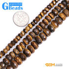 Natural Tiger 's Eye Gemstone Faceted Rondelle Beads Free Shipping Strand 15""