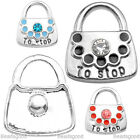 1x Alloy Enamel Crystal TO STOP Symbol Lock Charm Snap Button Fit Bracelet