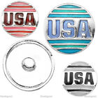 1x Alloy Enamel USA Symbol Bead Charms Snap Button For Bracelet Bangle DIY