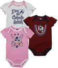 NHL Hockey Infant Girl's Colorado Avalanche 3 Piece Creeper Bodysuit Set
