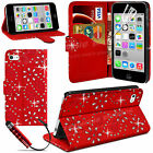 NEW LEATHER WALLET FLIP CASE COVER FOR APPLE IPHONE 5C FREE SCREEN PROTECTOR