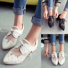 Womens Ladies Lace Pointed Toe Lace Up Chunky Low Heels Platform Shoes Pumps