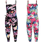 Childrens Strappy Sleeveless Flower Floral Baggy Loose Belted Jumpsuit