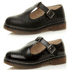 WOMENS LADIES FLAT LOW HEEL MARY JANE T-BAR GEEK BUCKLE CHUNKY SCHOOL SHOES SIZE