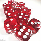 Chessex Dice Block d6 12 pcs 16mm - Translucent Red w/ White - 23604 FREE BAG
