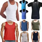 MENS VEST FITTED 100% COTTON SUMMER GYM TRAINING TANK TOP 8 COLOURS