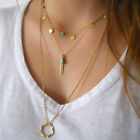 Women Multilayer Necklace Irregular Circle Gold Pendant Chain Unique Cheap Gift
