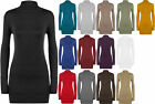 New Womens Plus Plain Turtle Polo Neck Long Sleeve Ladies Stretch Top 16 - 26
