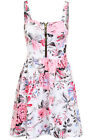 Womens Strappy Zipper Front Padded Cups Textured Floral Flared Skater Dress