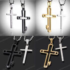 Set Mens Womens Carved Stainless Steel Crystal Cross Pendant Necklace Chain Gift