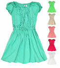 Girls Short Sleeved Gypsy Dress Frill Neck Kids Dresses New Ages 3-12 Years