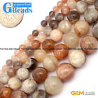 Round Smooth Mixed Color Sun Stone Beads Jewelry Making Loose Beads 15""
