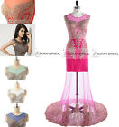 Rhinestone See Through Long Pageant Evening Gown Prom Party Dresses Formal 2015
