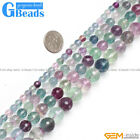 Natural Round Faceted Gemstone Fluorite Jewelry Making Bracelet Stone Beads 15""