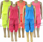 Girls Top & 3/4 Pants Outfit 2 Piece Set Kids Summer Childrens Clothes Ages 2-12