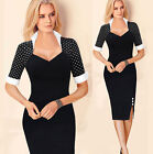 New Fashion Womens Bandage Bodycon Pencil Dress Wear To Work Dress Stand Collar
