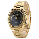 Luxury Women Men's Golden Stainless Steel Band Sports Analog Quartz Wrist Watch