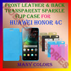 FRONT LEATHER & BACK TRANSPARENT SPARKLE FLIP CASE for HUAWEI HONOR 4C COVER NEW