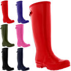 Womens 100% Rubber Gloss Adjustable Back Wide Calf Fit Welly Snow Rain Boots 3-9