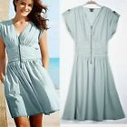 Casual Womens V Neck Zipper Stud Embellishment Ruched Tunic Dress Solid Blue