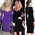 Womens Celebrity Office Tunic Sheath Hot Bodycon Midi Pencil Dress 088 USWB