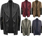 New Womens Wet Look Long Sleeve Zip Open Ladies Waterfall Knitted Cardigan 8-14