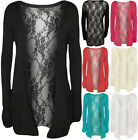 New Ladies Lace Back Open Cardigan Womens Pocket Long Sleeve Boyfriend Top 8-14