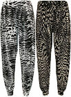 New Womens Printed Ladies Harem Full Length Long Stretch Trousers Pants 8-14