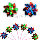 5/10/15Pcs Holographic Garden Windmill Single Flower Window Home Decor Kids Toy