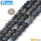 Natural Round Frost Black Agate Beads Jewelry Making Stone Loose Beads Strand15""