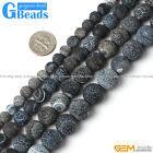 "Natural Round Frost Black Agate Beads Jewelry Making Loose Beads 15"" Free Ship"