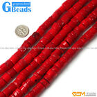 Red Coral Gemstone Column Beads For Jewelry Making Free Shipping Strand 15""