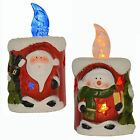 Ceramic LED Colour Changing Flickering Christmas Xmas Candle Flameless Tea Light