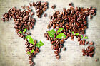 Coffee Beans World Atlas Map WALL ART CANVAS FRAMED OR POSTER PRINT