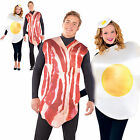 Adults Bacon & Egg Couples Fancy Dress Costumes Breakfast Buddies Party Outfits