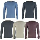 MENS WAFFLE TOP LONG SLEEVE ROUND NECK SWEATSHIRT THERMAL T-SHIRT SIZES S-2XL