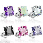 HOT PAIR OF SURGICAL STEEL SILVER PRINCESS CUT SQUARE CZ STUD POST EARRINGS