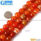 "Orange Stripe Sardonyx Agate Gemstone Faceted Round Beads Strand 15"" 10mm 12mm"