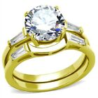 New Stainless Steel Gold IP AAA Cubic Zirconia Wedding Ring Set  Sizes 5-10