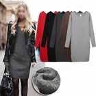 Womens Crew-neck Wool Mix Warm Pullover Long Sleeve Jumpers Knit Sweater Dress