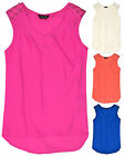 Ladies Bright Sleeveless Chiffon V Neck Blouse New Womens Summer Top Sizes 10-20