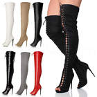 WOMENS LADIES STILETTO HIGH HEEL LACE UP ZIP OVER THE KNEE THIGH HIGH BOOTS SIZE