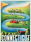Connecticut Sail Boat Canoe American Travel Tourism Vintage Poster Repro FREE SH