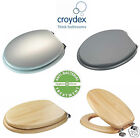 Croydex Wood Wooden MDF Toilet Seat Anti Bacterial With Shinny Chrome Hinges New