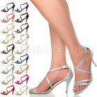 WOMENS LADIES MID HIGH HEEL CROSSED STRAPS WEDDING BRIDESMAID EVENING SANDALS