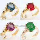 A1-R3060 Solitaire Gemstone Fashion Ring 18KGP Swarovski Crystal Size 5.5-9