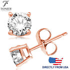 Sterling Silver 925 Rose Gold Brilliant Round Cut CZ Stud Earrings