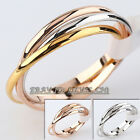 Fashion Women's Plain Triple Band Rolling Ring 18KGP Size 5.5-9 No Stone